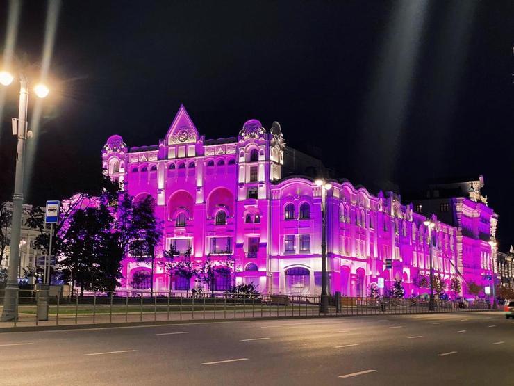 Политехнический музей был подсвечен розовым