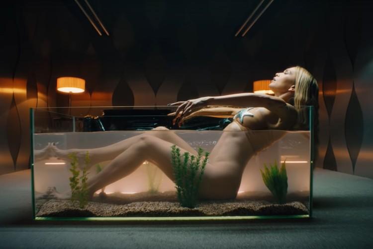 Весь костюм певицы - прозрачный купальник с ракушкой и морскими звездами. Фото: кадр видео.