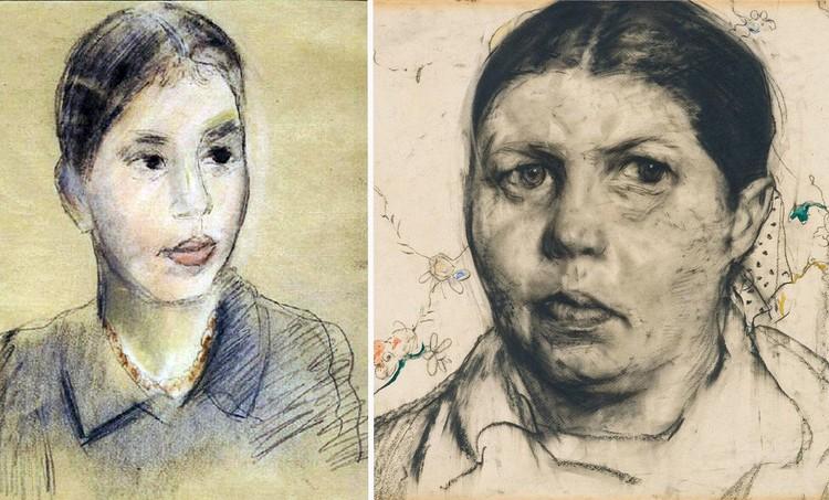 Можно ли представить, что эти портреты разделяет всего шесть лет. За это время из моложавой девушки с портрета Фалька Ксения превратилась в грузную женщину с выраженной асимметрией лица. Сам художник Глазунов говорил, что Некрасовой его портрет понравился